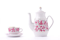 Elegant porcelain tea set. Isolated over white royalty free stock photo