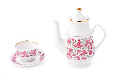 Elegant porcelain tea set. Isolated over white Royalty Free Stock Photos