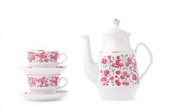Elegant porcelain tea set. Isolated over white Stock Image