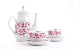 Elegant porcelain tea set Royalty Free Stock Images