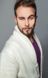 Elegant & positive young handsome man. Studio fashion portrait. Royalty Free Stock Photos