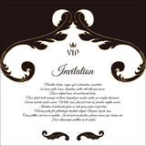 Elegant postcard for VIP invitations and congratulations. In Victorian style, with foliage. Brown with white flowers. Royalty Free Stock Image