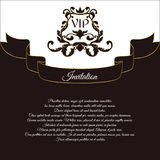 Elegant postcard for VIP invitations and wedding greetings. In the Victorian style, with an openwork ornament. Brown with white fl Stock Photography