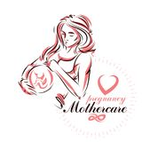 Elegant pregnant woman body silhouette drawing. Vector illustrat. Ion of mother-to-be fondles her belly. Prenatal center and motherhood preparing clinic Stock Photos