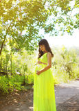 Elegant pregnant woman in dress outdoors Stock Images