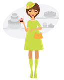 Elegant pregnant woman shopping fro bakery Stock Photos