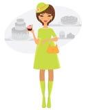 Elegant pregnant woman shopping fro bakery stock photos