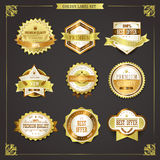 Elegant premium quality golden labels collection Stock Photography