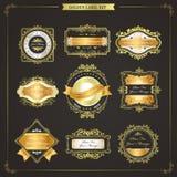 Elegant premium quality golden labels collection Stock Photos