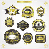 Elegant premium quality golden labels collection Royalty Free Stock Photos
