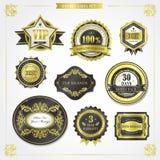 Elegant premium quality golden labels collection Royalty Free Stock Photos
