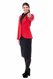 Elegant presentable businesswoman pointing Stock Photo