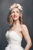 Elegant pretty bride with flowers in her hair Royalty Free Stock Images
