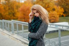 Elegant pretty young woman in stylish gray coat with checkered green scarf posing standing outdoors in autumn day. Modern beautiful girl walks in the park stock images