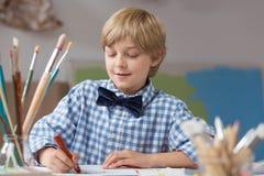 Elegant pupil of art school Royalty Free Stock Images
