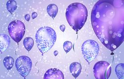 Elegant Purple Flying helium Balloons with Bokeh Effect and glitter. Wedding, Birthday and Anniversary Background. Vector. Elegant Pink Purple helium Balloons vector illustration
