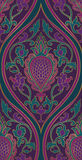 Elegant purple pattern. Pattern with damask. Purple and green filigree ornament. Elegant template for wallpaper, textile, carpet Stock Photography