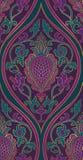 Elegant purple pattern. Pattern with damask. Purple and green filigree ornament. Elegant template for wallpaper, textile, carpet stock illustration