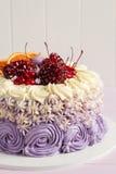 Elegant purple rosette cake decorated with fruit Stock Images