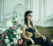 Elegant queen in black dress Royalty Free Stock Photos