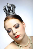 Elegant queen female face with  black eye make Royalty Free Stock Photo