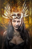 Elegant Queen, young with golden mask, ancient goddess Stock Photography