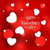 elegant röd bakgrund med vita hjärtor för valentindag Royaltyfri Fotografi