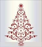 elegant röd tree för jul Arkivbild