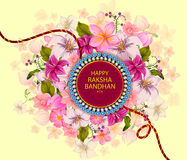 Elegant Rakhi for Brother and Sister bonding in Raksha Bandhan festival from India. In vector greeting background vector illustration
