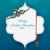 Elegant Rakhi for Brother and Sister bonding in Raksha Bandhan festival from India. In vector greeting background stock illustration