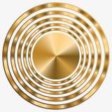 Elegant ram med guld- koncentriska cirklar p? svart bakgrund arkivfoton