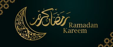 Elegant Ramadan Kareem banner with arabic calligraphy and moon on green background. Gold colors gradient lettering stock illustration
