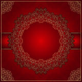Elegant red background with gold ornament Stock Photo