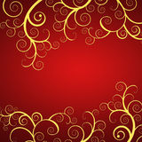 Elegant red  background with golden swirls. Elegant christmas background with golden swirls Royalty Free Stock Image