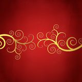 Elegant red background with golden swirls. Elegant christmas background with golden swirls Stock Photography