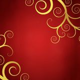 Elegant red background with golden swirls. Elegant christmas background with golden swirls Royalty Free Stock Images