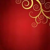 Elegant red background with golden swirls. Elegant christmas background with golden swirls Stock Image