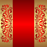 Elegant red Background with royal Borders. Stock Photos