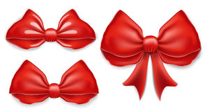 Elegant red bows set. vector illustration. Royalty Free Stock Images
