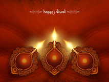 Elegant red color card design for diwali festival Stock Images
