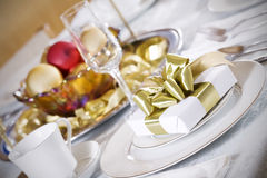 Elegant red and gold table decor Stock Image