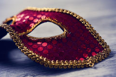 Elegant red and golden carnival mask Stock Photography