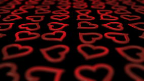 Elegant red hearts background loop. stock video footage