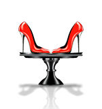 Elegant red, high heel shoe on platter Stock Image