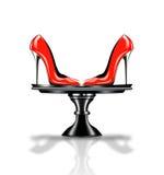 Elegant red, high heel shoe on platter Stock Image