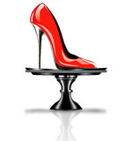 Elegant red, high heel shoe on platter Royalty Free Stock Photos