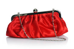 Red purse. Elegant red purse on white background Royalty Free Stock Photos