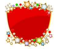 Elegant red shield with stars Stock Photo
