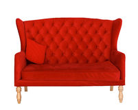 Elegant red sofa chair isolated on white Royalty Free Stock Photo