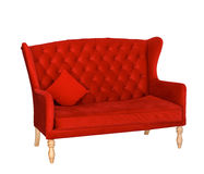 Elegant red sofa chair isolated on white Royalty Free Stock Photography